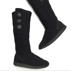 UGG Black Classic Tall Cardi Knitted Boots